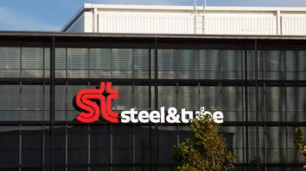 Steel & Tube Logo on Building Face