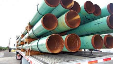 U.S. Steel tubular products displayed at an event at the company's Irvin Works facility outside Pitt