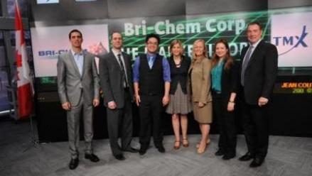 On Tuesday, April 18, 2012 Bri-Chem Corp. opened the Toronto Stock Exchange; second from left is Bri
